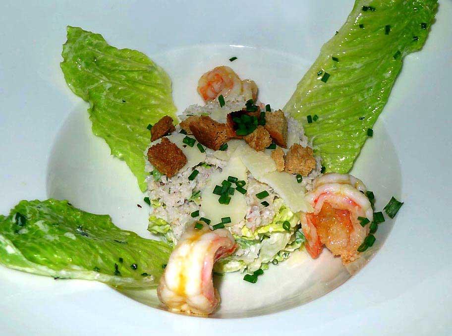 Restaurant Le Beaumarchais, salade tourteaux et crevettes