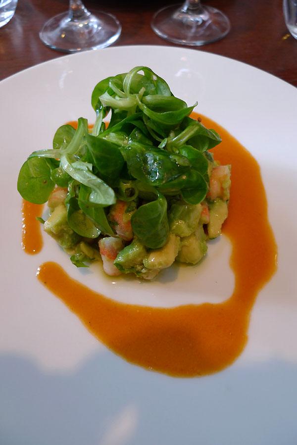 Restaurant Le Bouchon et L'Assiette, Le tartare de crevettes et avocat au gingembre