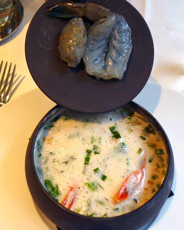 Restaurant LE RELAIS DU PARC : Crevette Obsiblue en infusion chaude