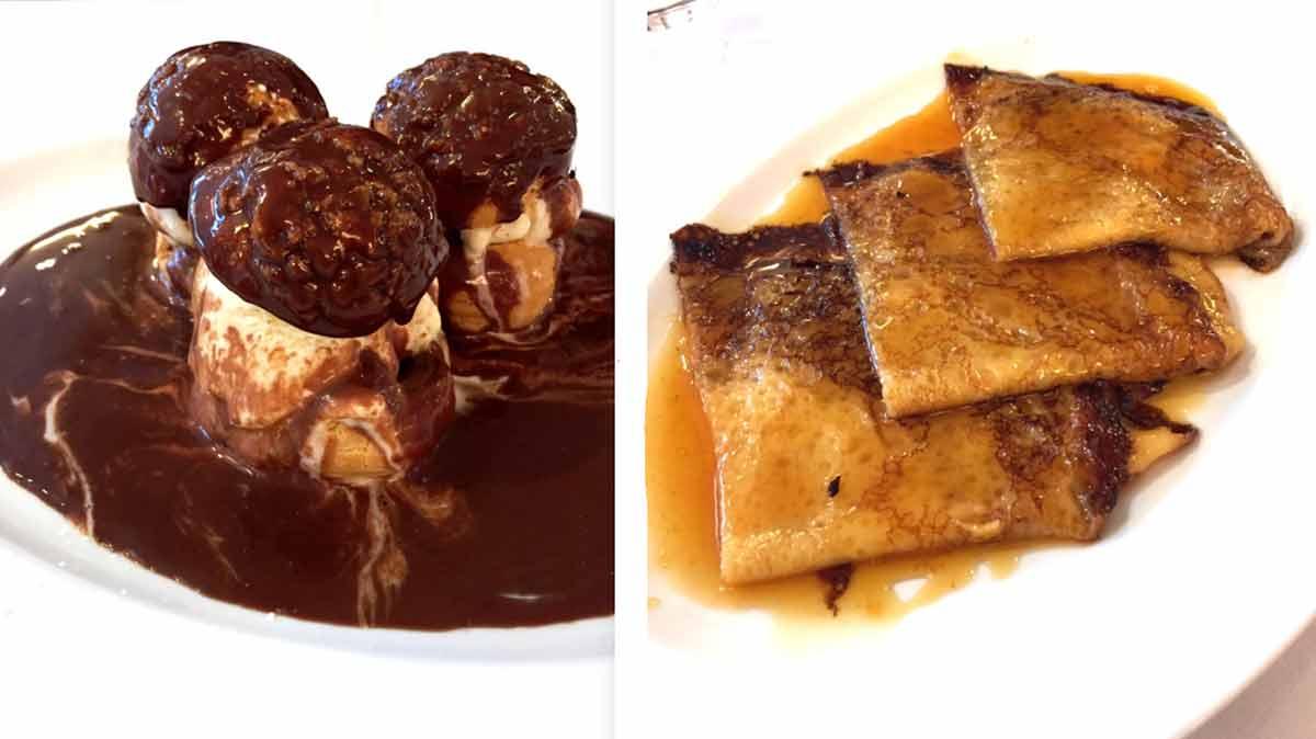 Restaurant La Coupole, Profiteroles et crêpes Suzette