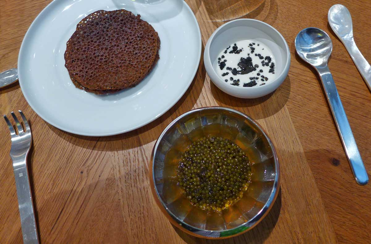 Alain Ducasse au Plaza Athénée, les lentilles au caviar