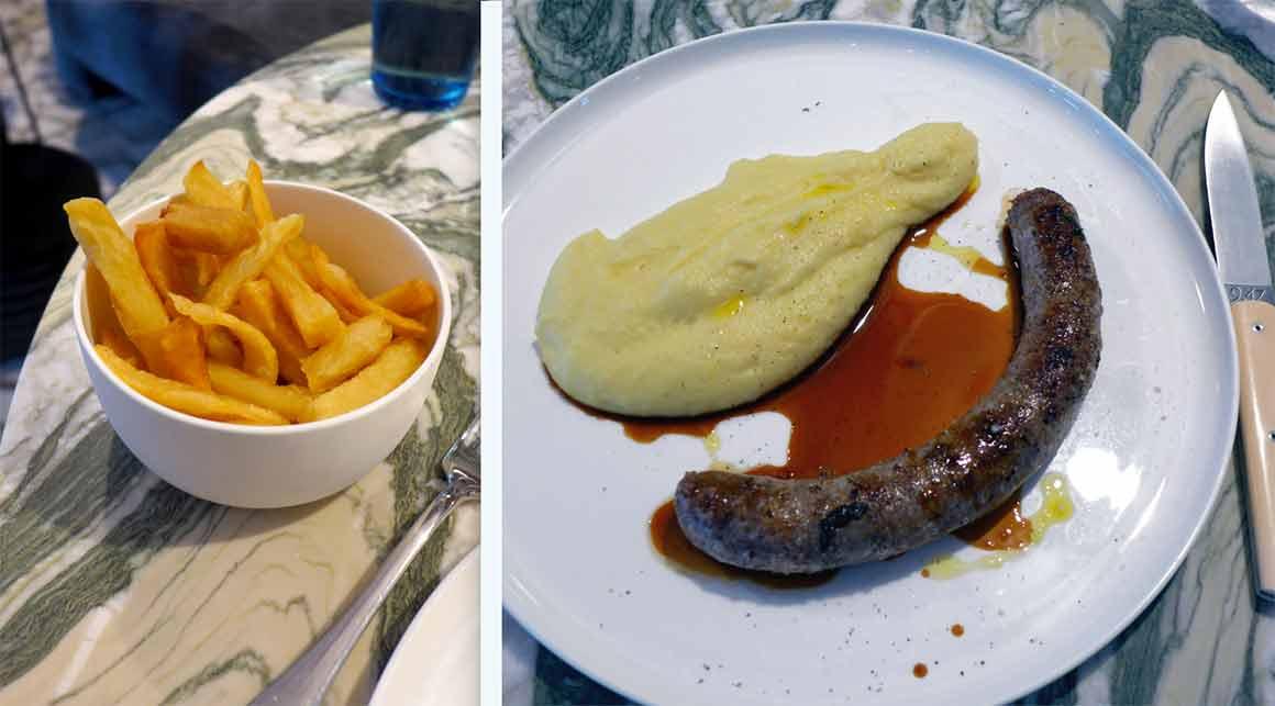 Restaurant ZEBRA : Frites maison - la saucisse et purée
