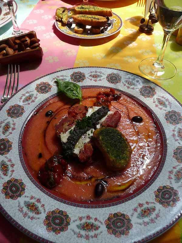 Restaurant Le Sud, Le gâteau de tomates confites mozzarella