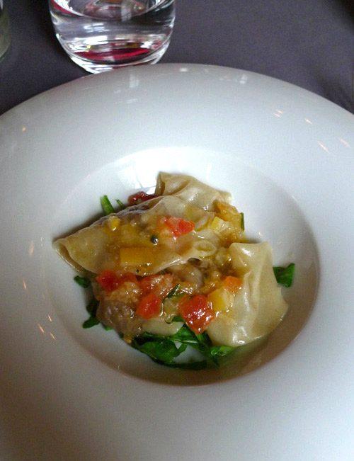 Restaurant Le Tintilou, ravioles végétales avec dattes oignons cumin