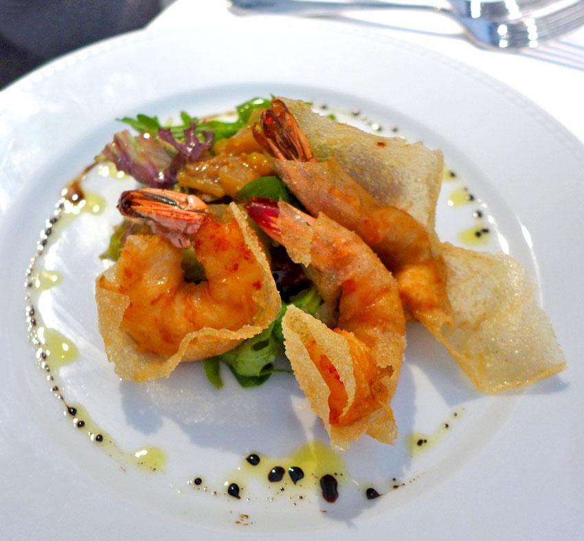 Restaurant Le Tourbillon, Croustillant de gambas et salade de fruits d'hiver