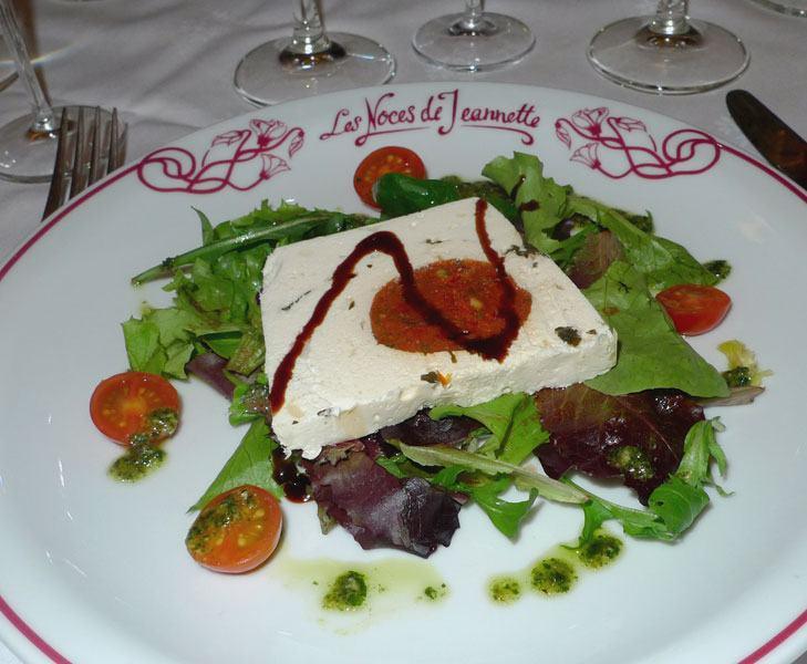 Restaurant Les Noces de Jeannette, marbré de chèvre au pesto et mesclun