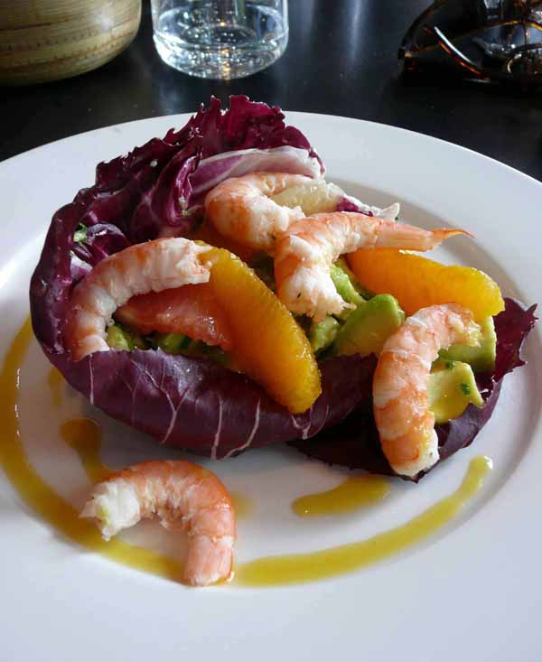 Restaurant Les Princes, Les avocats agrumes et crevettes marinéess