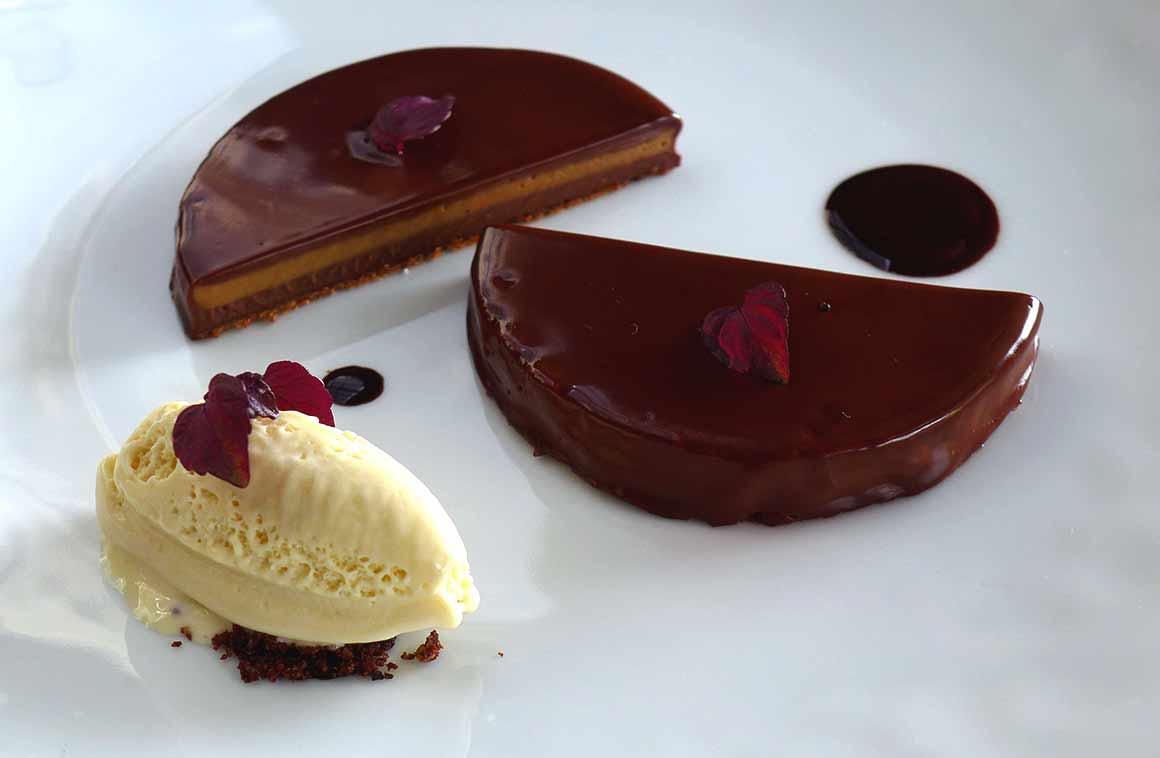 Restaurant L'Escargot 1903 : Feuillantine et crémeux au chocolat
