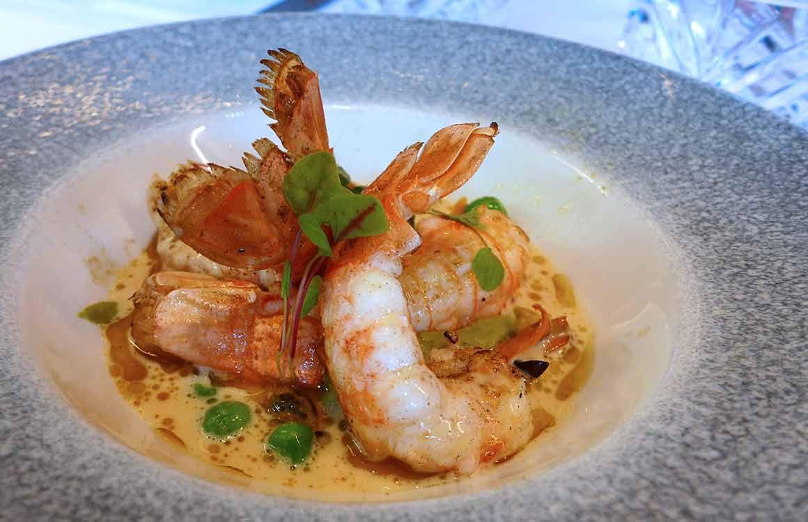 Brasserie La Lorraine, Langoustines rôties avec sauce et petits pois