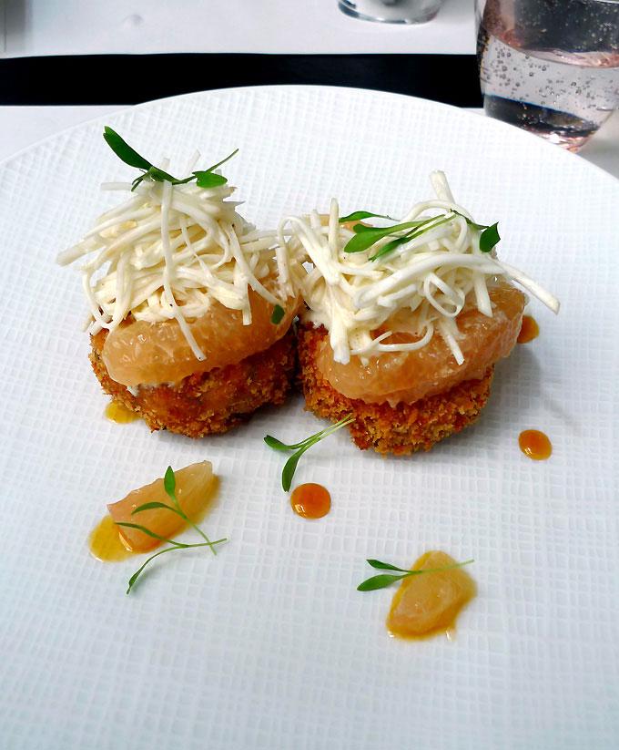 Restaurant Manger, fish cake avec pamplemousse