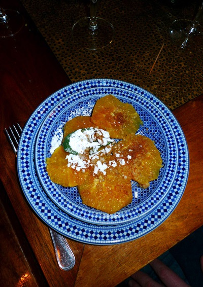 Restaurant Mansouria, salade d'orange à la fleur d'oranger