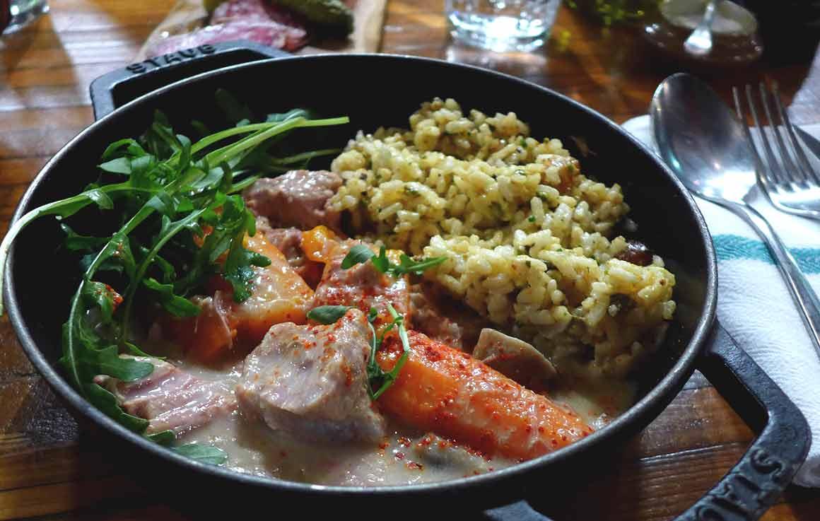 Restaurant RURAL, Blanquette de veau au lait d'amande et riz du Piémont