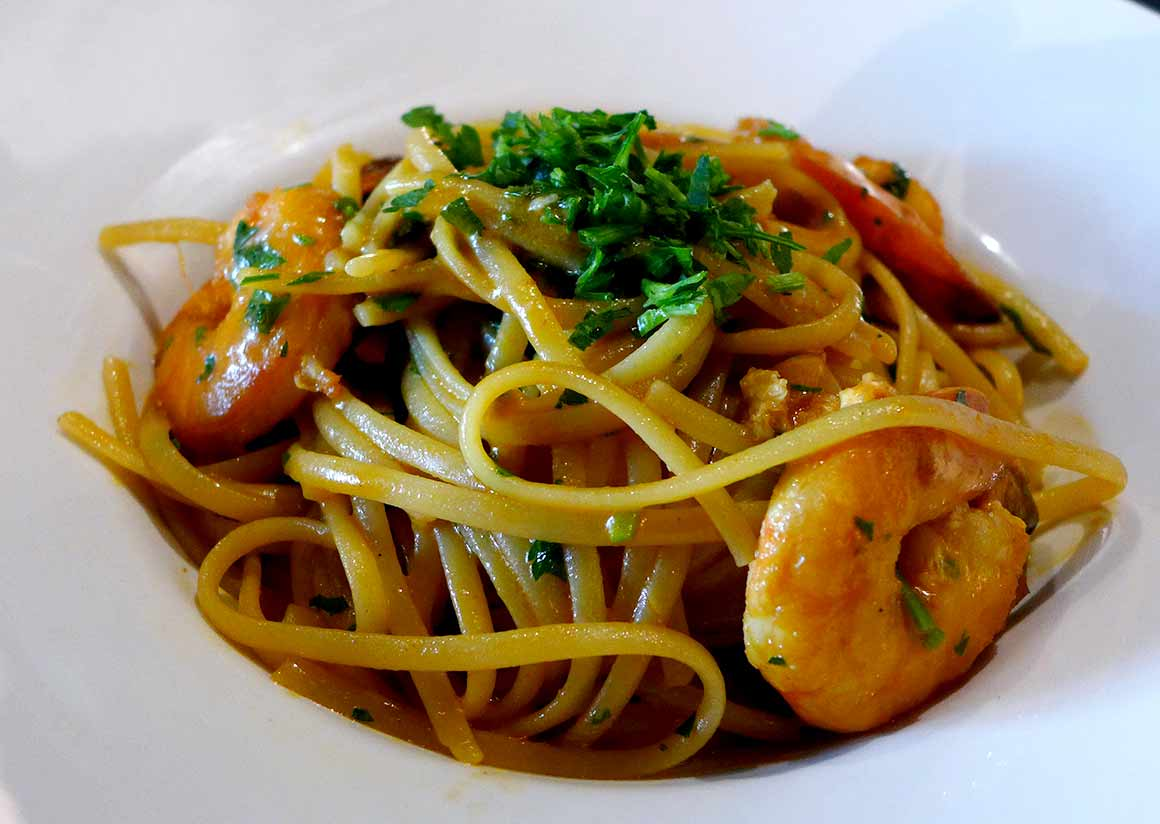 Restaurant Marcella, Linguine aux gambas