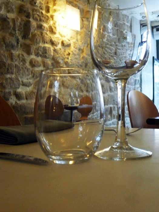 Restaurant Monjul, les verres de service