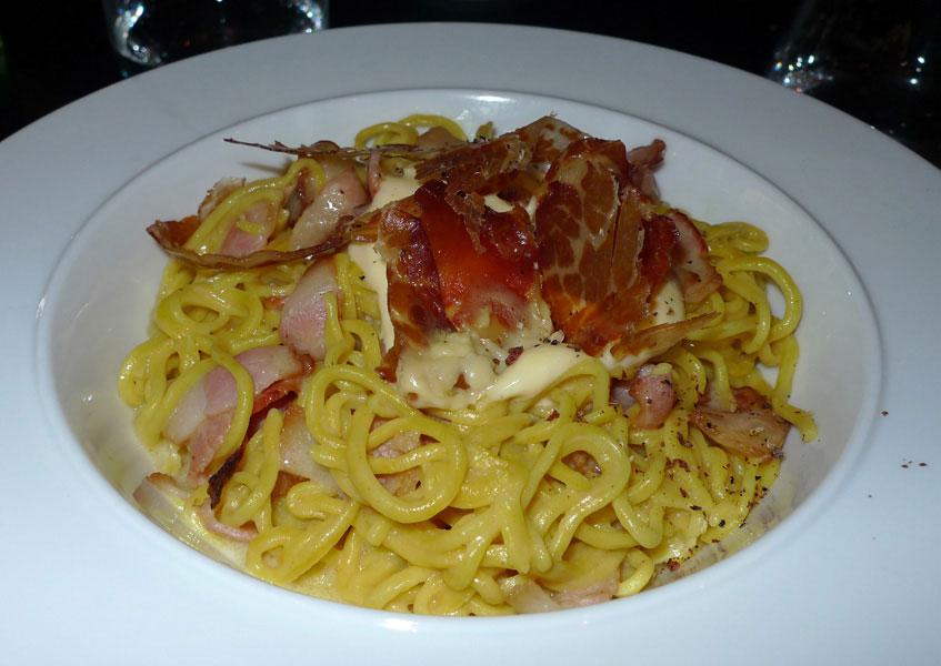 Restaurant Officina Schenatti, spaghettis d'épeautre bio