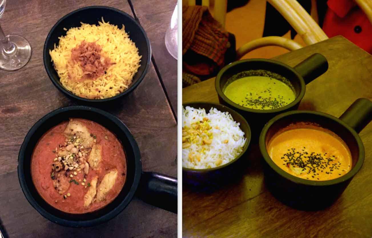 Restaurant PAPADOOM KITCHEN, butter chicken, Chicken Korma avec Gambas coconut