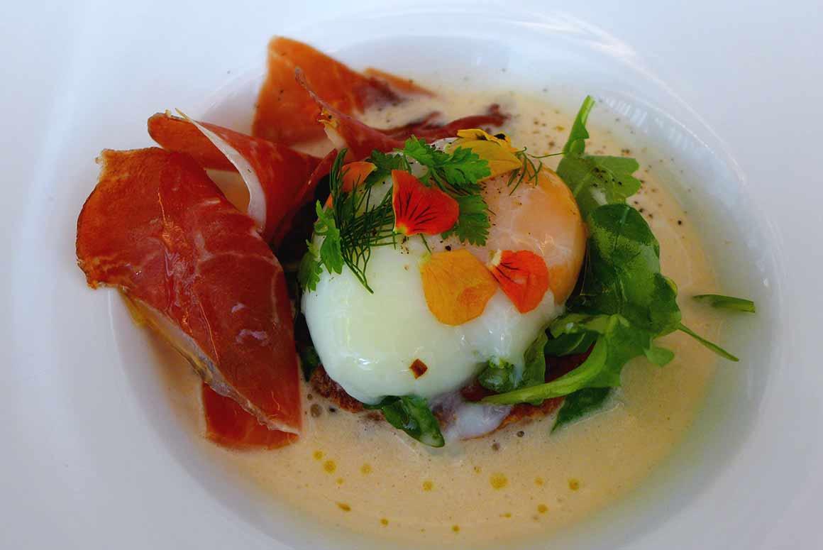 Restaurant PERTINENCE, risotto à la crème de jambon et œuf