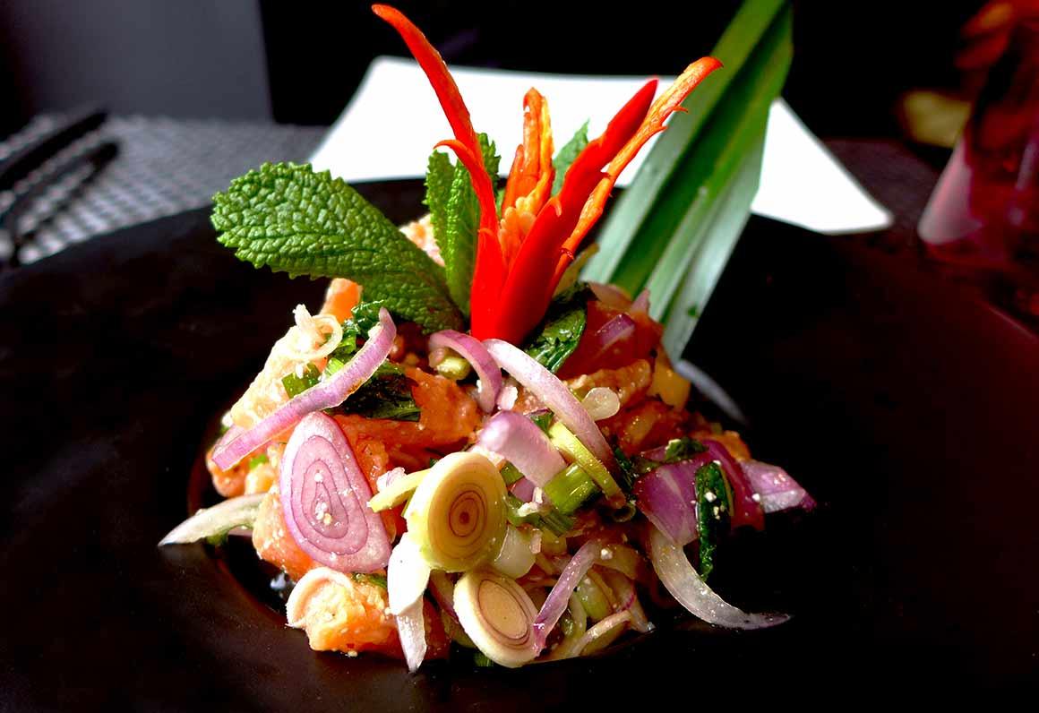 Restaurant Piment Thaï 21, tartare de saumon à la sauce citron