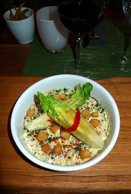 Restaurant Pottoka : Carpaccio tiède de jarret de bœuf et Cogollos