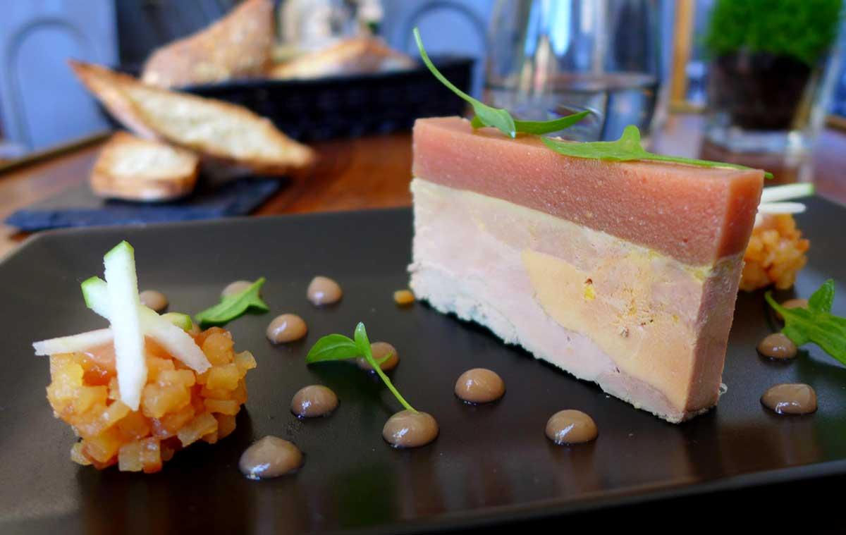 Restaurant AG, foie gras avec coing