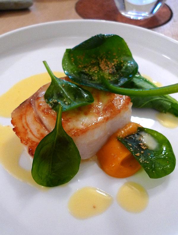 Restaurant DAVID TOUTAIN : Merlan plus purée de patate douce et citron