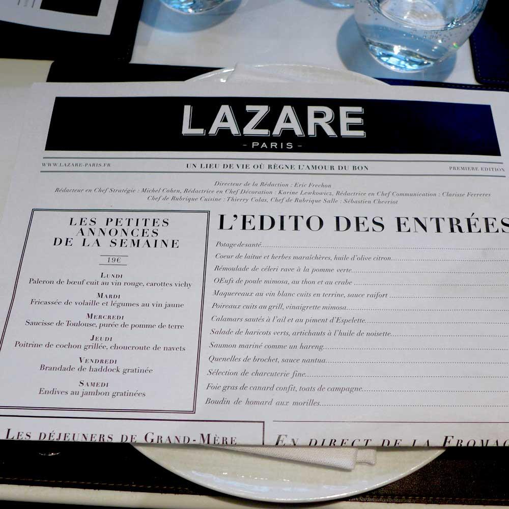La carte du restaurant Lazare