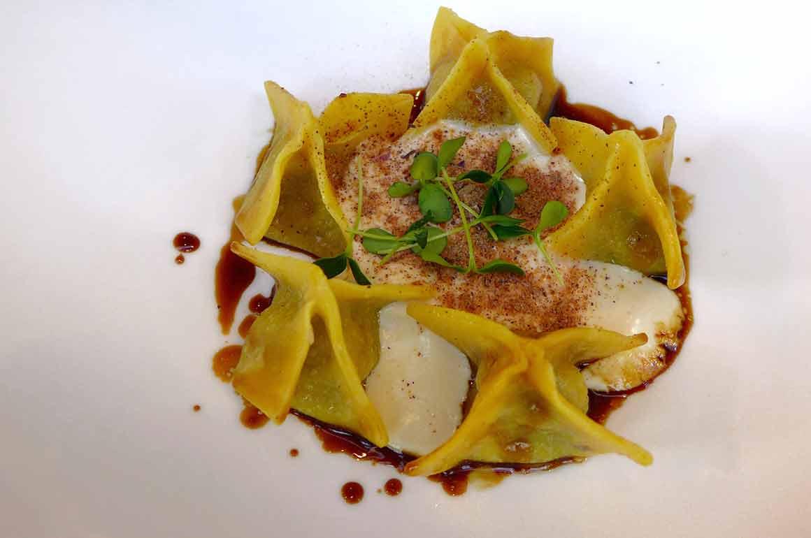 Restaurant Tosca, Tortello de canard rôti, mousse de pecorino