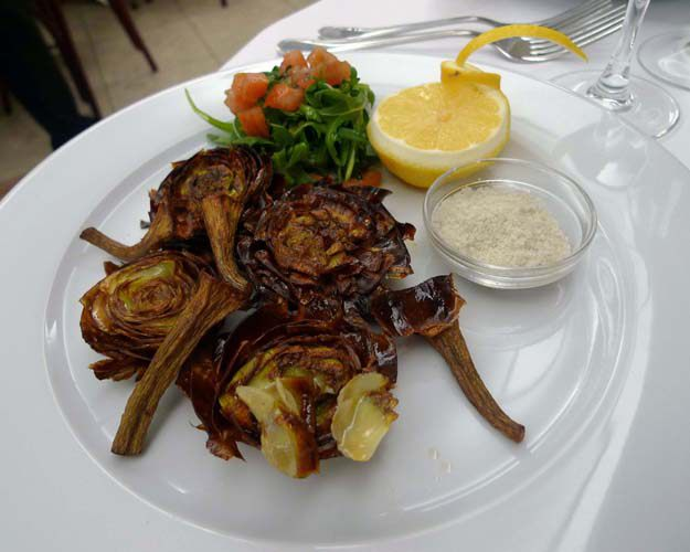 Restaurant Samesa, La salade d'artichauts roquette et boutargue