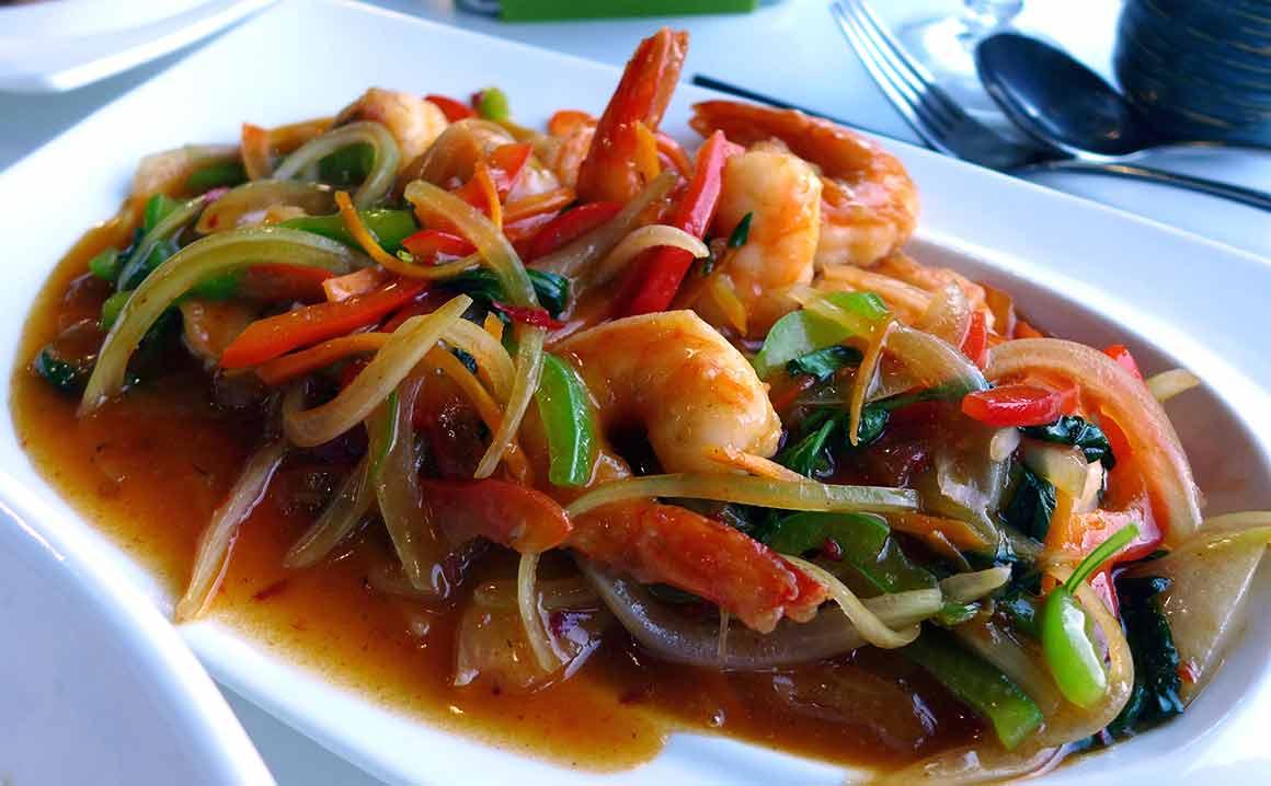 Restaurant Panasia Beaugrenelle : Crevettes au basilic Thai