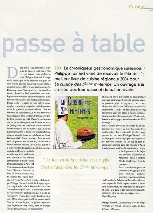 interview dans Suresnes magazine d'avril 2005