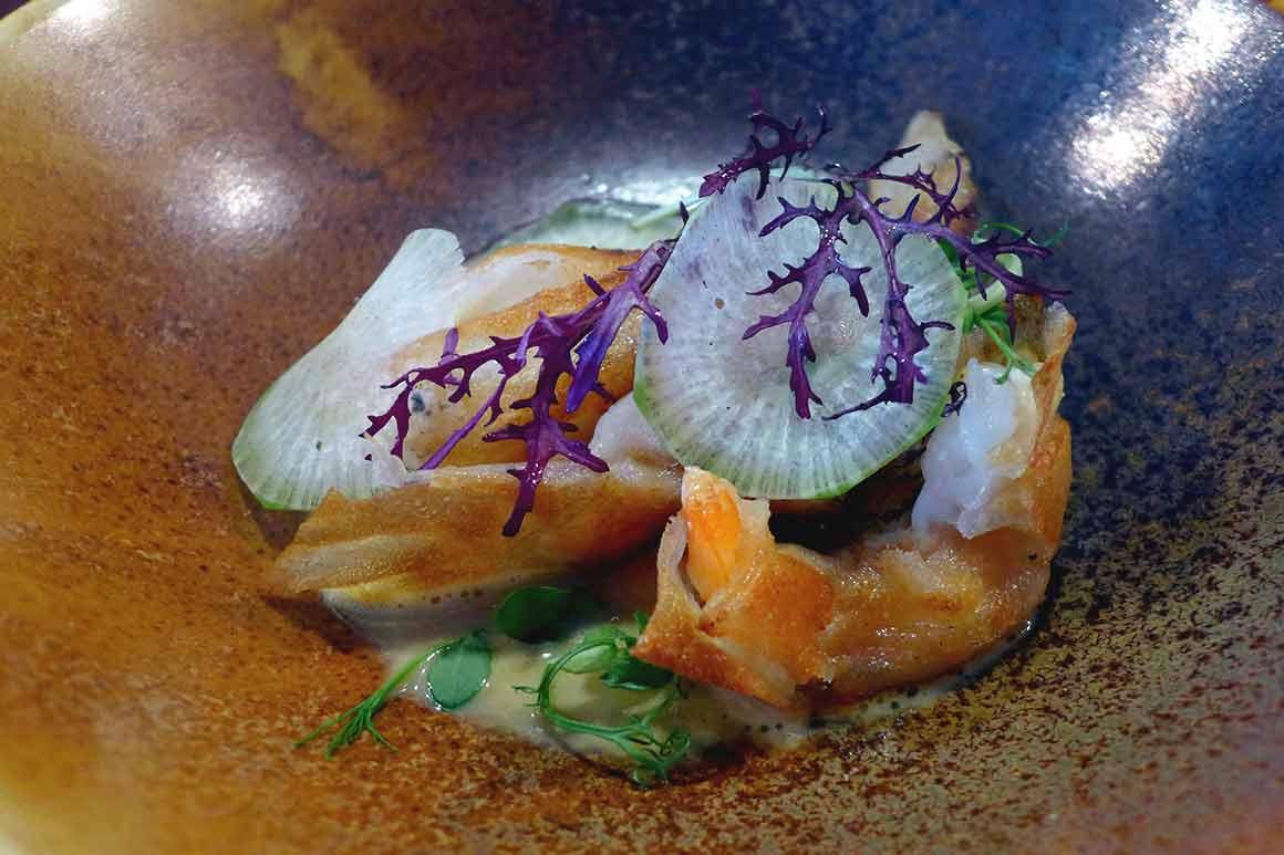 Restaurant L'Escient, Croustillant de gambas avec patate douce et sauce miel-soja