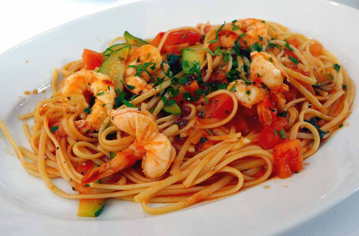 Restaurant Fellini, Les spaghettis aux gambas