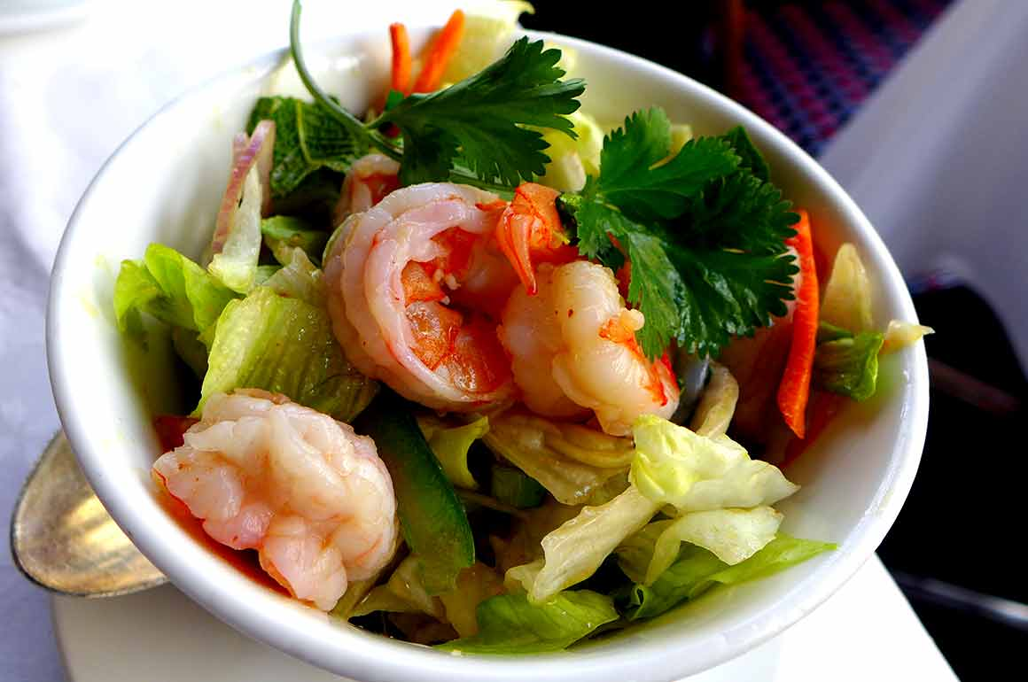 Restaurant Lao Tseu, salade de crevettes thaïlandaise